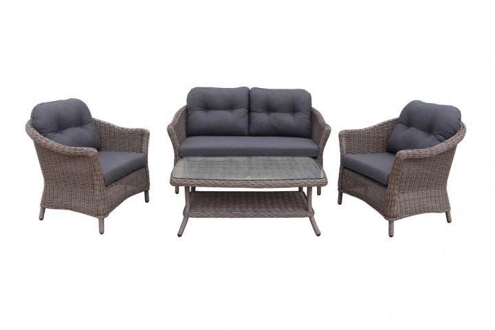 AKS Irvine Lounge Set Geflecht 4-teilig, braun