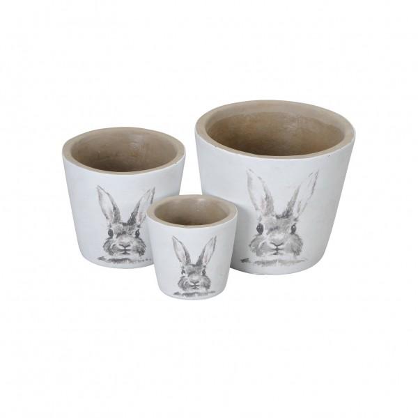 Kübel mit Hasendekor 3er Set 8x7 cm Zement weiß