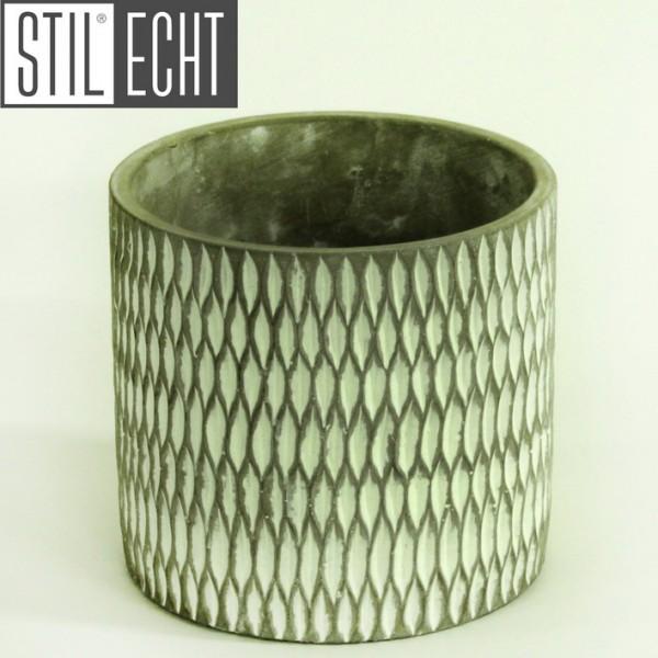 Stilecht Pflanztopf modern 16,7x15,3 cm Zement grau weiß