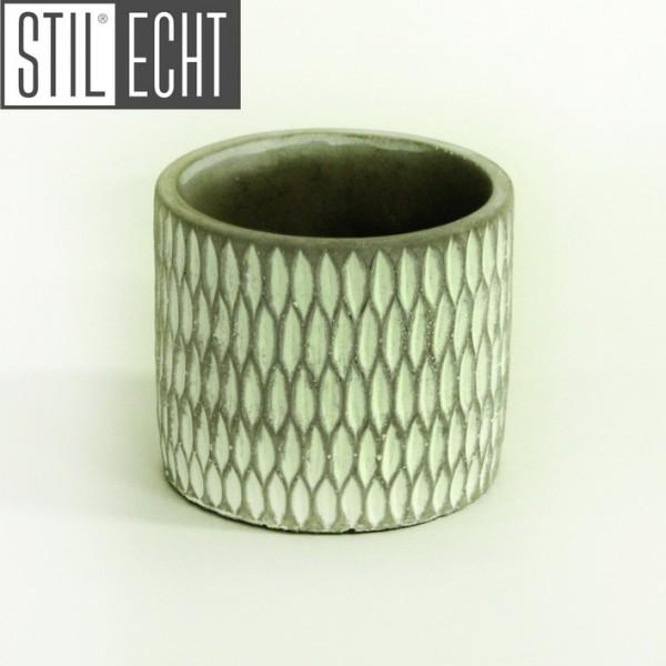 Stilecht Pflanztopf modern 12,8x11,5 cm Zement grau weiß