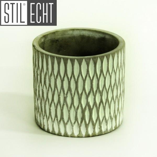 Stilecht Pflanztopf modern 14x13 cm Zement grau weiß
