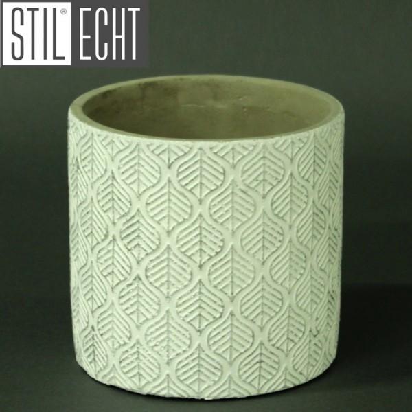 Stilecht Pflanztopf Blatt 13,5x13 cm Zement weiß silber