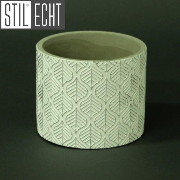 Stilecht Pflanztopf Blatt 12,2x10 cm Zement weiß silber