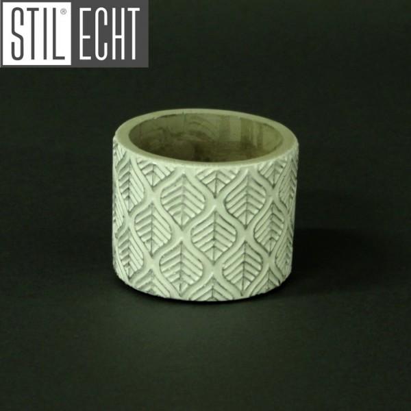 Stilecht Pflanztopf Blatt 7,6x5,9 cm Zement weiß silber