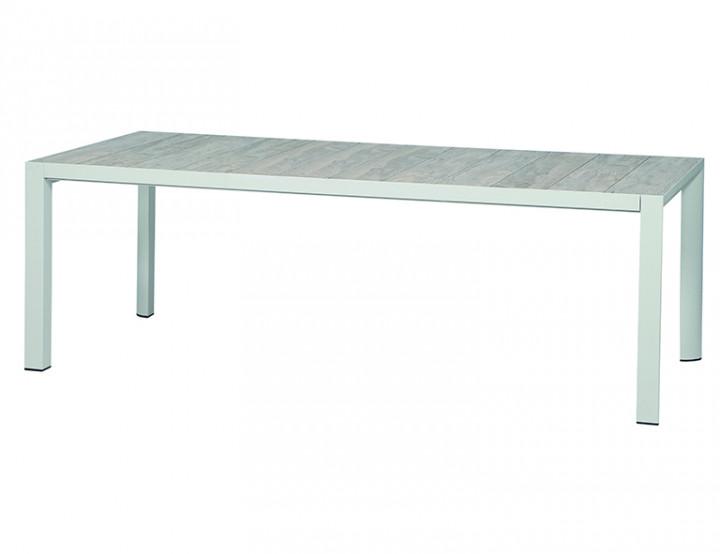 AKS Arona Diningtisch Aluminium matt weiß-grau