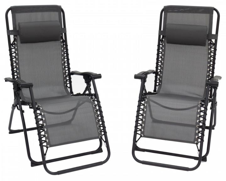 AKS Bari Relaxliege Aluminium schwarz, 2er Set