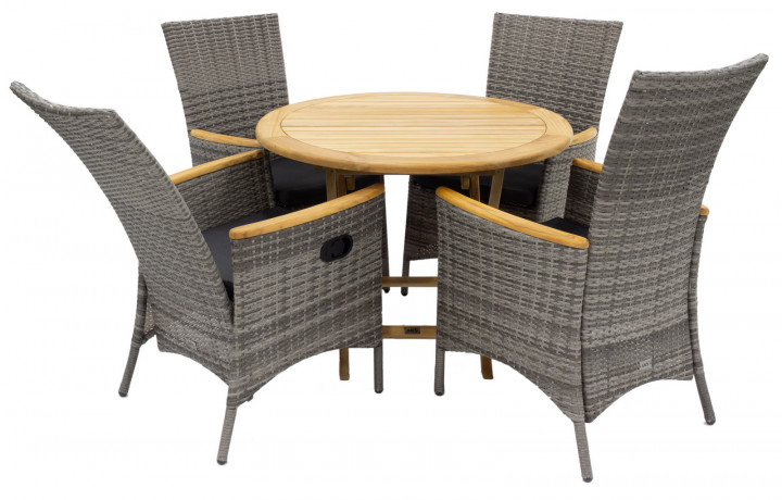 AKS Legano/Garda Dininggruppe Polyrattan/Kunstoffgeflecht natur, move Sessel