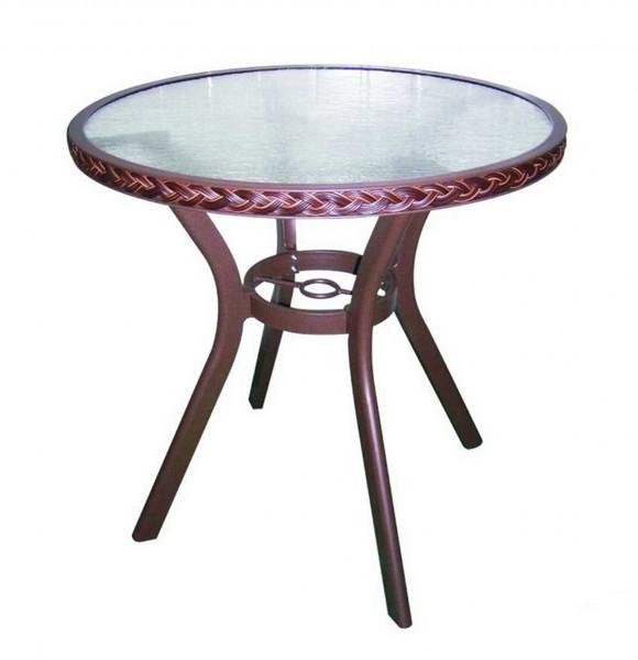 AKS Gomera Tisch Glas 72 cm Geflecht cappuccino