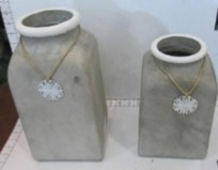Vase Zement Schneeflocke 16x16x30,5 cm grau