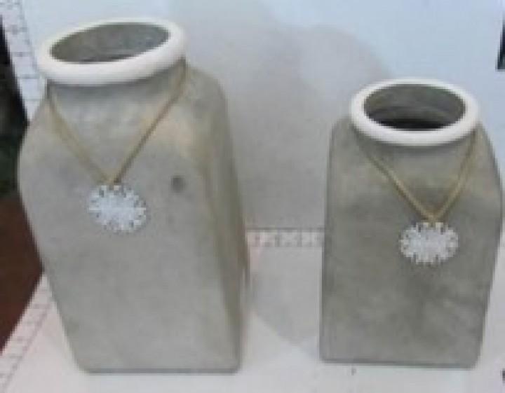 Vase Zement Schneeflocke 15x15x24 cm grau