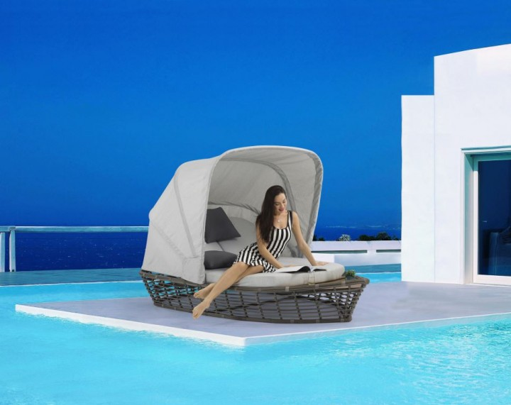 AKS Bellaluna Loungeboot Sonneninsel Polyrattan/Kunstoffgeflecht dunkelgrau