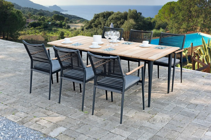 AKS Granby Sessel 56,5x65x90 cm schwarz mit Teak
