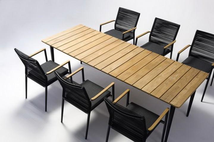 AKS Laval Tisch 210x90x75 cm schwarz mit Teak